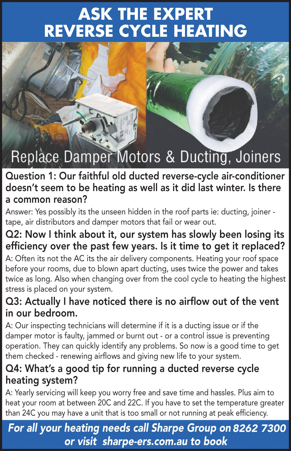 Ask the Expert - Reverse Cycle Ducted Heating