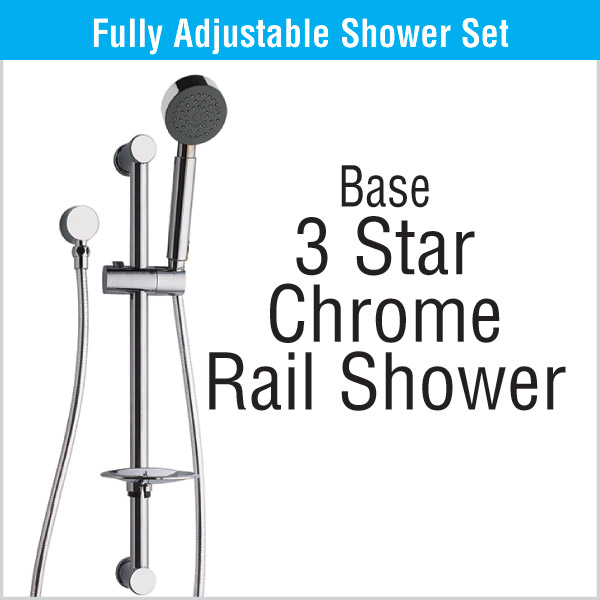 3 Star Chrome Rail Shower