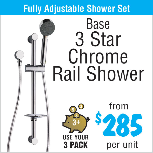 Base 3 Star Chrome Shower Rail - from $285