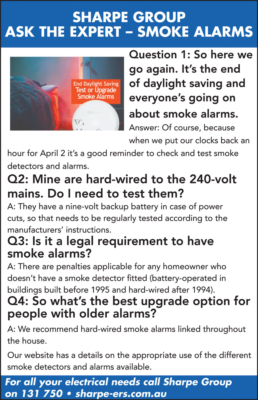 Ask the Expert - Smoke Alarms